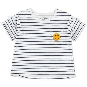 Lucky Brand Girls Stripe & Smiley Face Pocket Top.